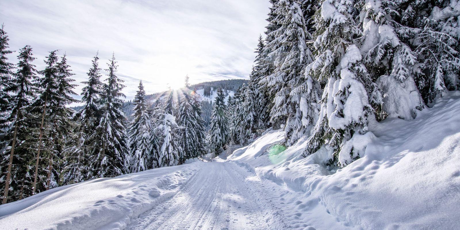 Tief verschneite Bergstraße mit zahlreichen Spuren von Skitouren-Gehern
